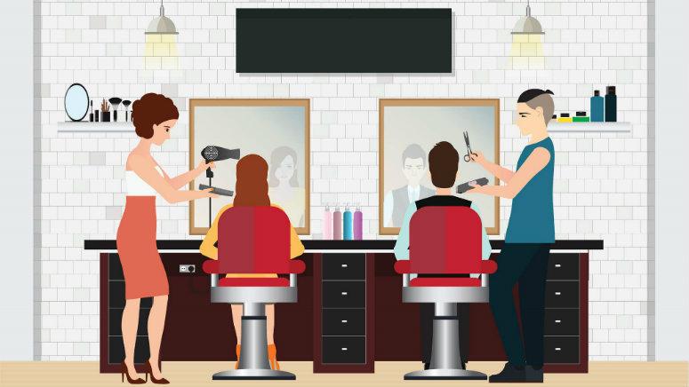 pessoas trabalhando num salão de beleza atendendo clientes com tesoura e secador na mão